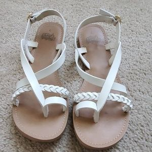 Faded glory white strapy sandals